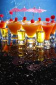 Fruit daiquiri and shooters — Stockfoto