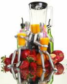 Fruits, dummies and blender — Stock Photo