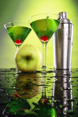 Apple martini and shaker — Stock Photo