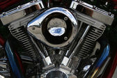 All chromed V-Twin cyllinder head — Stock Photo
