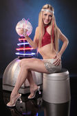 Disco woman with cocktail — Stock Photo