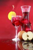 Carafe and sangria in glass — Stock Photo