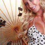 Cute european blonde girl with umbrella — Stok fotoğraf #64586617