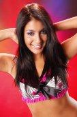 Brunette on bright background — Stock Photo