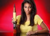 Girl with oversized pencil — Stok fotoğraf