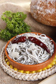 Baby conger eel oven fried in olive oil — Stock Photo