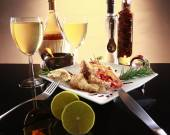 Battered fish or chicken, wine and spices — Stock Photo