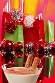 Christmas gift bags and balls — Stock Photo