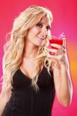 Sexy blonde girl with Cosmopolitan cocktail — Stock Photo