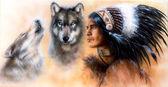Zvířata Vlk a portrét indiána v národních krojích — Stock fotografie