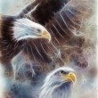 Beautiful airbrush painting of two eagles on an abstract background, one stretching his black wings to fly, — Photo #65309029
