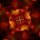 Colorful mandala on a fractal effect on red fire background — Stock Photo