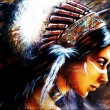 Beautiful airbrush painting of a young indian woman wearing a big feather headdress, a profile portrait on structured abstract background — Stock Photo #66052483
