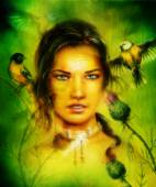 Portrait of a young  woman face, with birds and flower ,fractal effect eye contact — Stock Photo