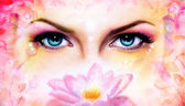 Blue women eyes beaming up enchanting from behind a blooming rose lotus flower, with bird on pink abstract background. illustration, eye contact — Stock Photo