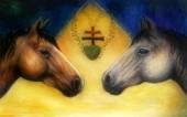 Two horse heads, beautiful detailed oil painting on canvas — Stock Photo