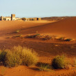 A moroccan desert scenery with sand dunes, desert grass plantation and an ancient arabic fortress on the background, captured in daylight conditions — Stock Photo #68722047