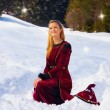 Beautiful young blonde lady in medieval velvet clothing posing in the snowy mountain landscape with fairy starlights — Stock Photo #68747453