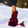 A beautiful young blonde lady in medieval velvet clothing posing in the snowy mountain landscape with fairy starlights — Stock Photo #68747549