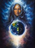 A beautiful oil painting on canvas of a woman goddess Lada as a mighty loving guardian and protective spirit upon the Earth — Foto de Stock