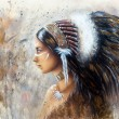 Painting of a young indian woman wearing a big feather headdress, a profile portrait on structured abstract background — Stock Photo #68766929