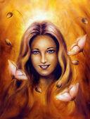 Hermosa pintura al óleo de la encantadora primavera hada diosa mujer con flor — Foto de Stock