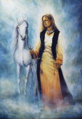 Mystical woman in historical dress holding a sword of silver, with a white horse as her protective companion at her side, on a misty grey sparkling background — Stock Photo