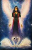 Beautiful oil painting on canvas of an angel woman with radiant wings above a pair of swans, on a starlight space background — Stock Photo