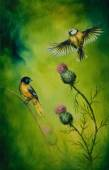 A beautiful oil painting on canvas of a pair of songbirds flattering above a distel flower, on an emerald green background — Stock Photo