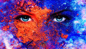 A pair of beautiful blue women eyes beaming, color earth effect, — Stok fotoğraf