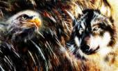 Wolf and eagle color painting, feathers background, multicolor collage illustration. fractal effect — Stock Photo
