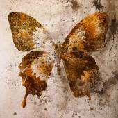 Illustration of a color butterfly, mixed medium, vintage background — Stock Photo