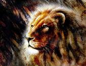 Bir majesticaly huzurlu ifade, profil portre ile aslan baş güzel resim. — Stok fotoğraf