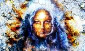 Mystic face women, with structure crackle background effect, with star on forehead, collage. eye contact — Stock Photo