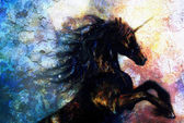 Painting on canvas of a black unicorn dancing in space, crackle desert effect — ストック写真