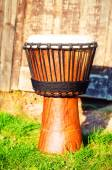 Original african djembe drum with leather lamina, on green in sun light — Stock Photo
