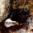 Painting  eagle with black feathers on an abstract background , USA Symbols Freedom, with text — Stock Photo #72533339