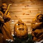 Wooden christmas nativity scene  the holy family, life size — Stock Photo #72535933