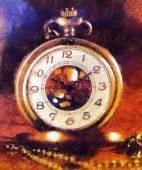Vintage Antique pocket watch. Illustration collage. vintage background — Stock Photo