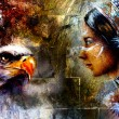 Woman and flying eagle,  illustration and abstract wall background — Stock Photo #74653213
