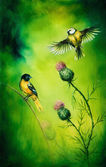 Pair of songbirds flattering above a distel flower, on an emerald green background — Stock Photo
