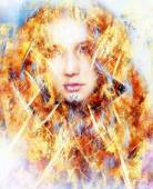 Beautiful airbrush painting of an enchanting woman face with structure colour background, fire effect — Stock Photo