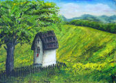 Chapel in nature under the linden tree, color oil painting. Beauty mountains and lake in the background — Stock Photo