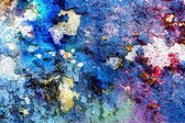 Blue crackle wall texture, color crackled background, with spots — Stock Photo