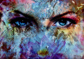 women eyes and painting color effect, make up and eye contact — Stock Photo