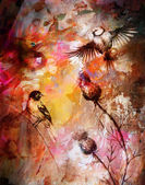 Color abstract background with birds and flower. — Stock Photo