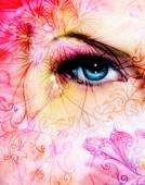 Blue women eye beaming up enchanting from behind a blooming rose lotus flower, and ornament pattern — Stock Photo
