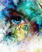 Beautiful blue women eye beaming, color desert crackle effect, painting collage, artist makeup — Stock Photo
