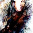 Beautiful painting Woman and  horse with a flying eagle beautiful painting illustration collage — Stock Photo #76669255