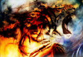 Woman portrait with spiritual fire tiger on space, color painting collage. — Stock Photo